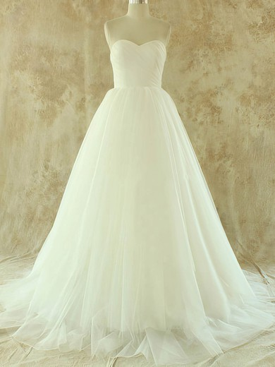Sweetheart A-line Court Train Tulle Satin Ruffles Wedding Dresses #DOB00020581