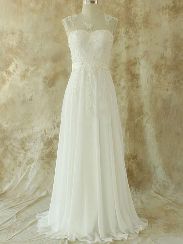 Scoop A-line Sweep Train Chiffon Lace Wedding Dresses #DOB00020582