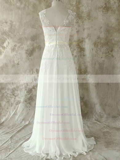 Scoop A-line Sweep Train Chiffon Lace Wedding Dresses #DOB00020582