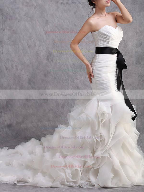Sweetheart Trumpet/Mermaid Sweep Train Organza Tiered Wedding Dresses #DOB00020584
