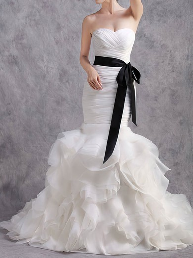 Sweetheart Trumpet/Mermaid Sweep Train Organza Tiered Wedding Dresses #DOB00020584