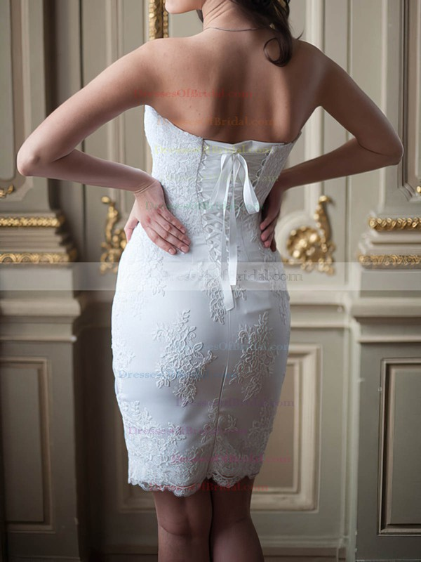 Sweetheart Sheath/Column Short/Mini Lace Satin Draped Wedding Dresses #DOB00020586