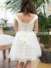 Off-the-shoulder A-line Knee-length Organza Sashes/Ribbons Wedding Dresses #DOB00020601