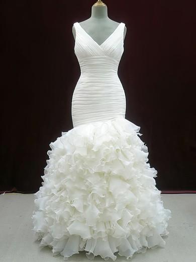 V-neck Trumpet/Mermaid Court Train Organza Tiered Wedding Dresses #DOB00020604