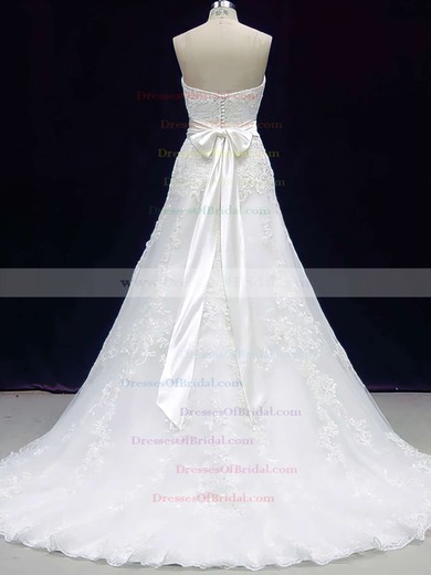 Sweetheart A-line Sweep Train Lace Satin Sashes/Ribbons Wedding Dresses #DOB00020606