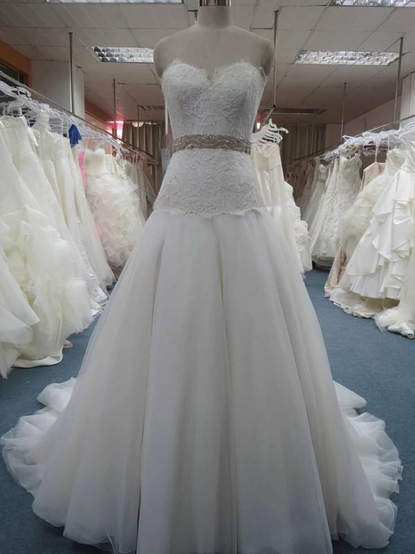 Sweetheart Princess Court Train Organza Lace Wedding Dresses #DOB00020607