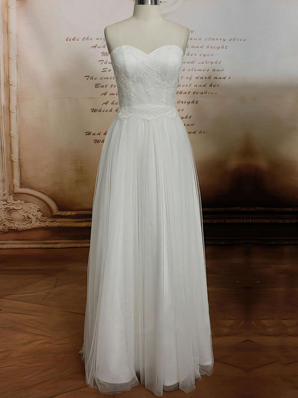 Sweetheart Sheath/Column Floor-length Tulle Satin Lace Wedding Dresses #DOB00020608