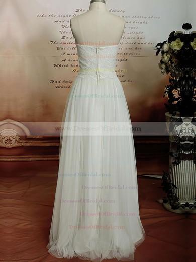 Sweetheart Sheath/Column Floor-length Tulle Satin Lace Wedding Dresses #DOB00020608