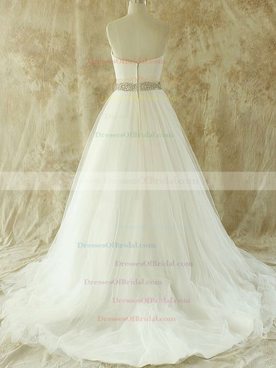 Sweetheart A-line Court Train Tulle Satin Beading Wedding Dresses #DOB00020609