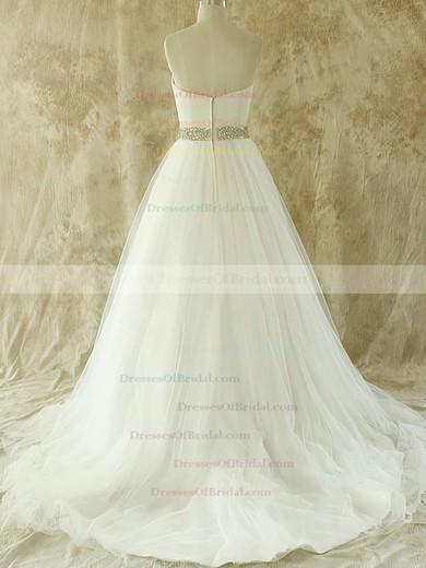 Sweetheart A-line Court Train Tulle Satin Beading Wedding Dresses #DOB00020609