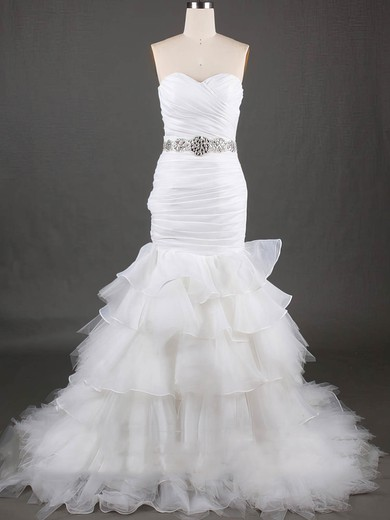 Sweetheart Trumpet/Mermaid Sweep Train Organza Tulle Tiered Wedding Dresses #DOB00020610