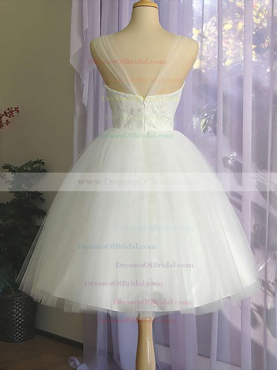Straps Ball Gown Knee-length Tulle Satin Lace Wedding Dresses #DOB00020612