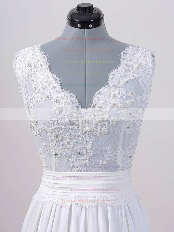 V-neck A-line Sweep Train Chiffon Lace Sashes/Ribbons Wedding Dresses #DOB00020615