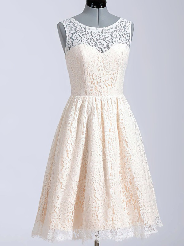 Scoop A-line Knee-length Lace Satin Buttons Wedding Dresses