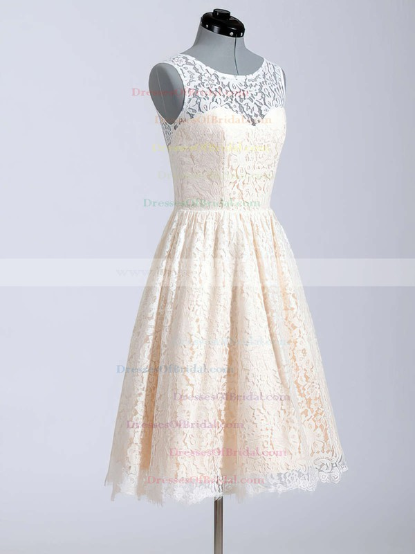 Scoop A-line Knee-length Lace Satin Buttons Wedding Dresses #DOB00020616