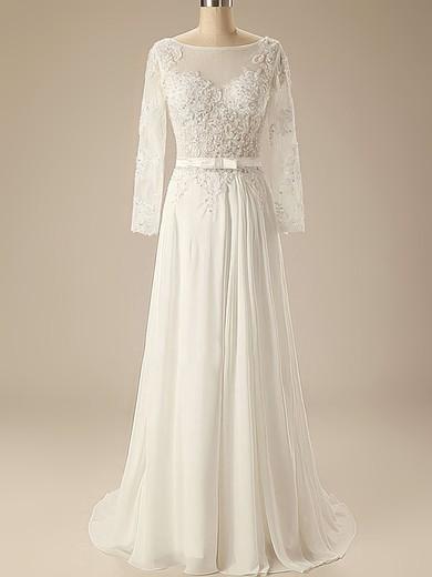 Bateau A-line Sweep Train Chiffon Appliques Wedding Dresses #DOB00020626