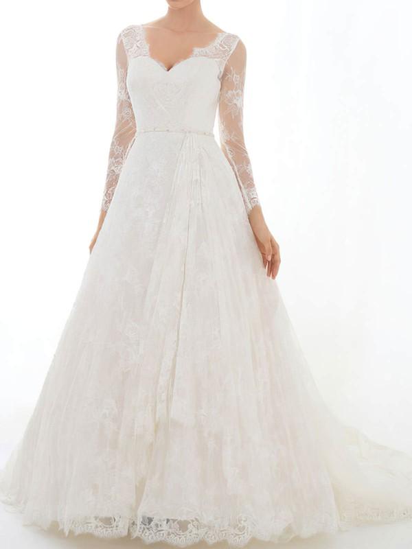 V-neck A-line Court Train Lace Satin Sashes/Ribbons Wedding Dresses #DOB00020629