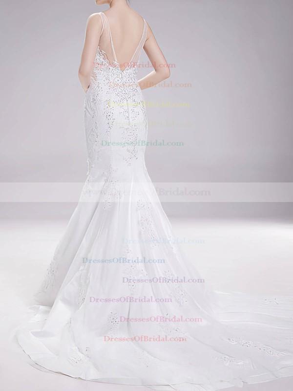 Bateau Trumpet/Mermaid Court Train Tulle Satin Appliques Wedding Dresses #DOB00020630