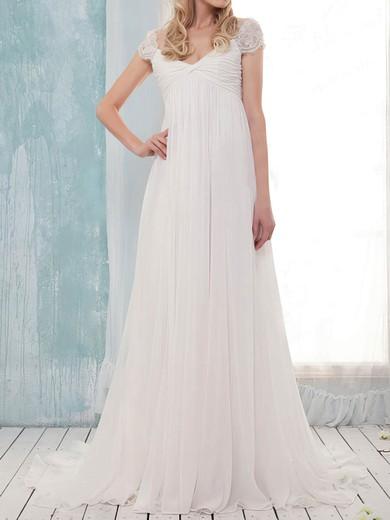 Off-the-shoulder Empire Sweep Train Chiffon Lace Wedding Dresses #DOB00020631