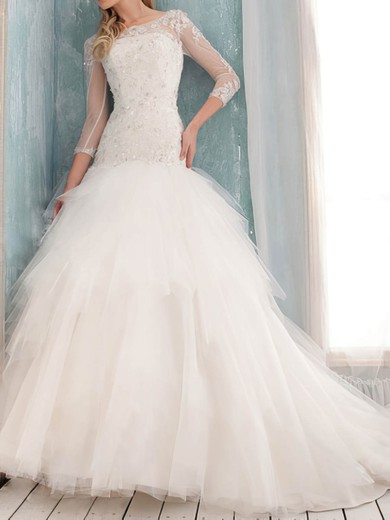 Scoop Princess Court Train Tulle Satin Appliques Wedding Dresses #DOB00020632