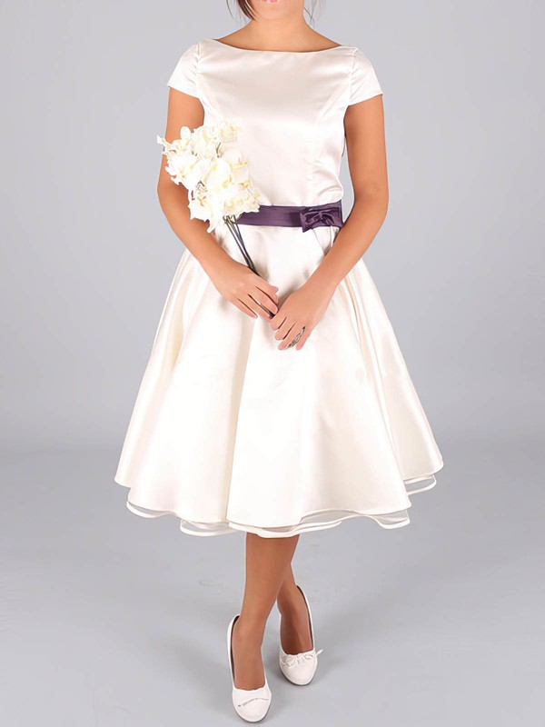 Bateau A-line Tea-length Satin Sashes/Ribbons Wedding Dresses #DOB00020633