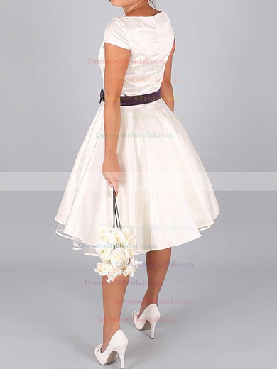 Bateau A-line Tea-length Satin Sashes/Ribbons Wedding Dresses #DOB00020633