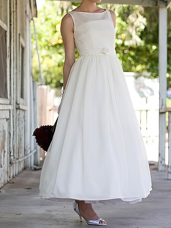 Bateau A-line Ankle-length Satin Sashes/Ribbons Wedding Dresses #DOB00020636