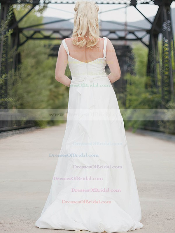 Square A-line Floor-length Taffeta Sashes/Ribbons Wedding Dresses #DOB00020638