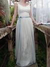 Straps Sheath/Column Floor-length Lace Tulle Sashes/Ribbons Wedding Dresses #DOB00020639