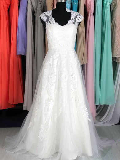 V-neck A-line Court Train Lace Tulle Satin Appliques Wedding Dresses #DOB00020662