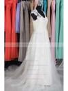 V-neck A-line Court Train Lace Tulle Satin Appliques Wedding Dresses #DOB00020662