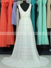 V-neck A-line Sweep Train Chiffon Lace Beading Wedding Dresses #DOB00020663