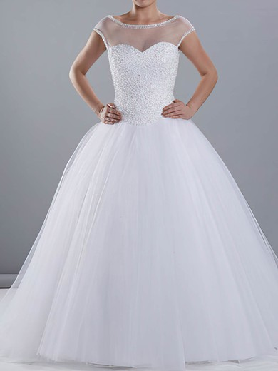 Bateau Ball Gown Sweep Train Tulle Satin Beading Wedding Dresses #DOB00020670