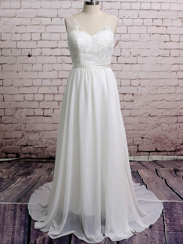V-neck A-line Court Train Chiffon Lace Wedding Dresses #DOB00020671