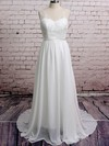 V-neck A-line Court Train Chiffon Lace Wedding Dresses #DOB00020671
