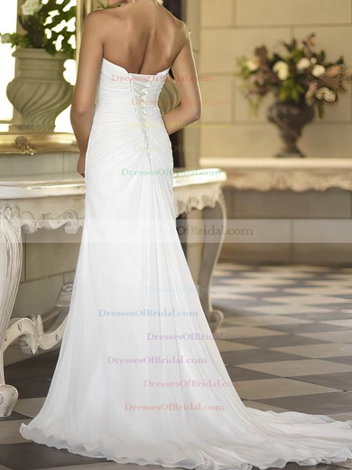 Sweetheart Sheath/Column Sweep Train Chiffon Beading Wedding Dresses #DOB00020674