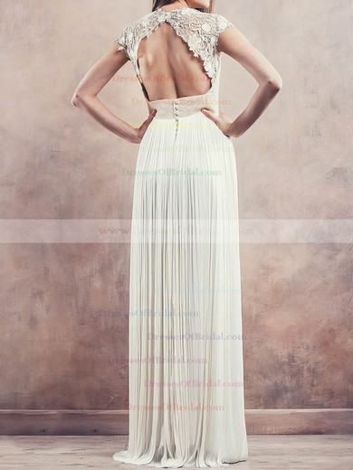 V-neck Sheath/Column Floor-length Chiffon Pleats Wedding Dresses #DOB00020675