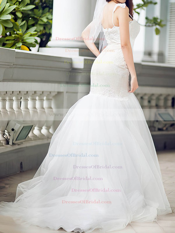 Spaghetti Straps Trumpet/Mermaid Sweep Train Lace Tulle Satin Beading Wedding Dresses #DOB00020680