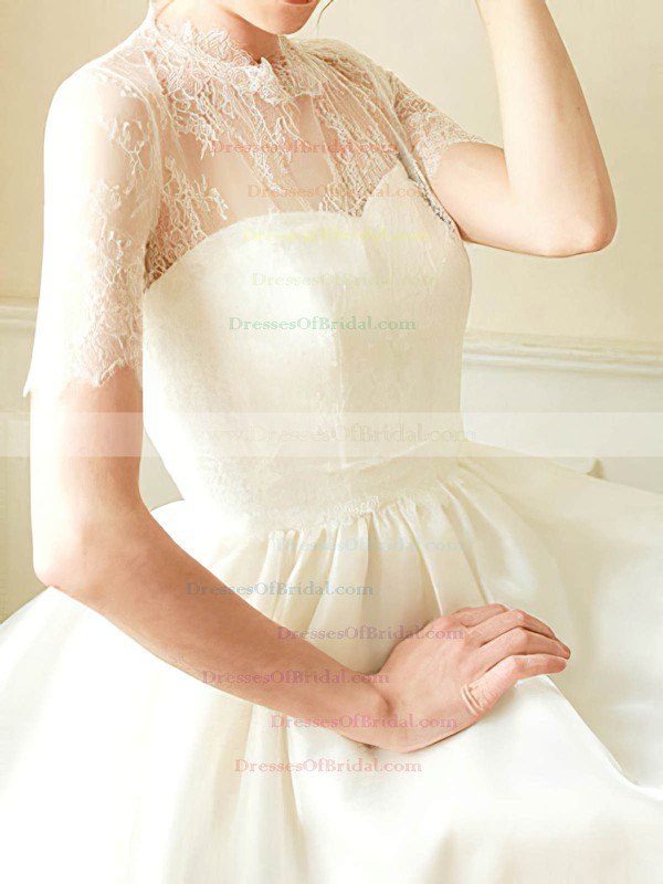 High Neck Ball Gown Short/Mini Satin Lace Draped Wedding Dresses #DOB00020682