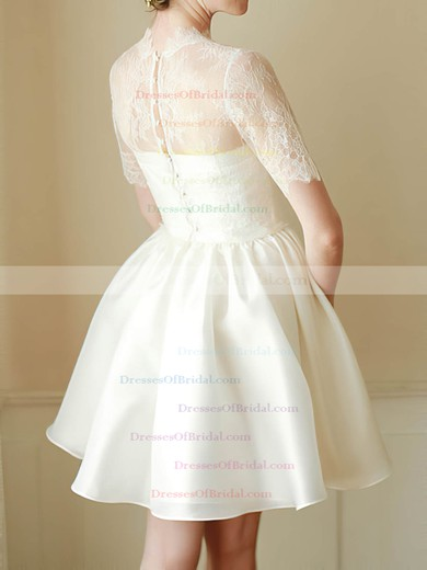 High Neck Ball Gown Short/Mini Satin Lace Draped Wedding Dresses #DOB00020682