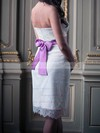 Strapless Sheath/Column Knee-length Lace Satin Sashes/Ribbons Wedding Dresses #DOB00020691