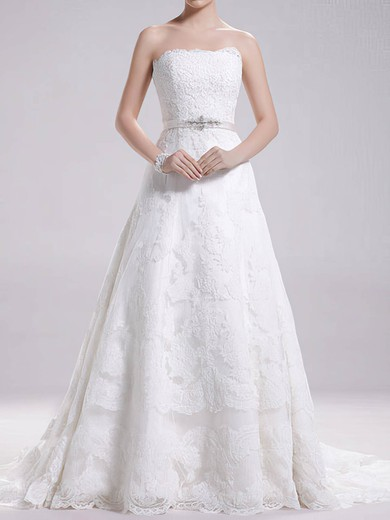 Strapless A-line Sweep Train Lace Satin Sashes/Ribbons Wedding Dresses #DOB00020695