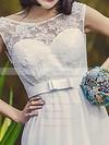 Bateau A-line Floor-length Chiffon Lace Wedding Dresses #DOB00020703