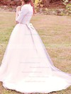 Scoop Ball Gown Floor-length Lace Tulle Satin Bow Wedding Dresses #DOB00020707