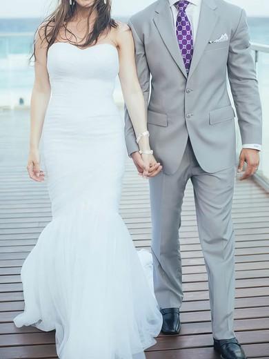 Sweetheart Trumpet/Mermaid Sweep Train Tulle Satin Ruffles Wedding Dresses #DOB00020708