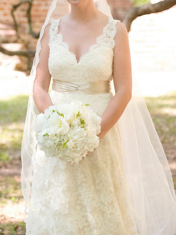 V-neck A-line Court Train Lace Satin Sashes/Ribbons Wedding Dresses #DOB00020713