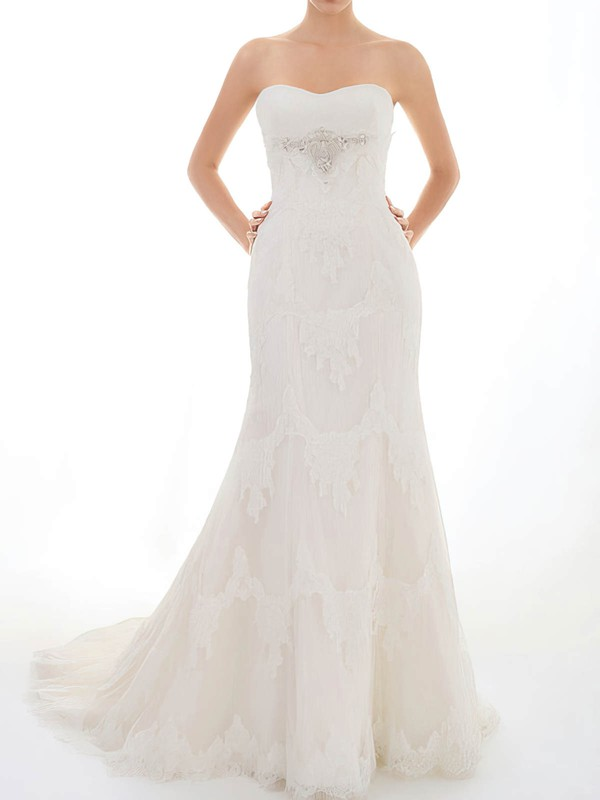 Sweetheart Trumpet/Mermaid Sweep Train Lace Satin Beading Wedding Dresses #DOB00020717