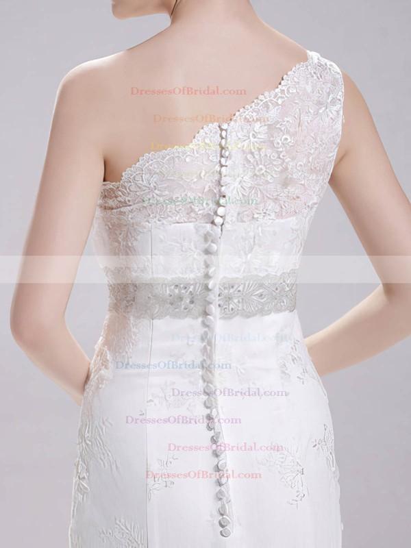 One Shoulder Trumpet/Mermaid Court Train Lace Satin Sashes/Ribbons Wedding Dresses #DOB00020718