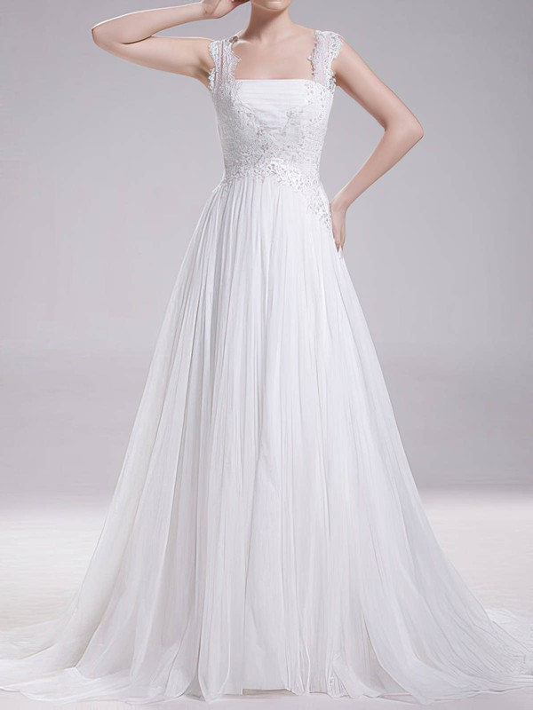 Square A-line Sweep Train Chiffon Lace Wedding Dresses #DOB00020719