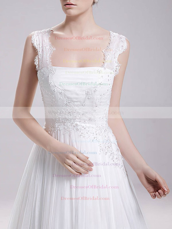 Square A-line Sweep Train Chiffon Lace Wedding Dresses #DOB00020719